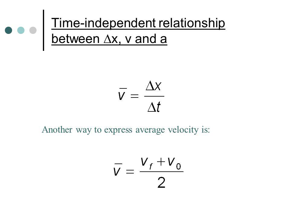 Time-independent relationship between x, v and a Another way to express average velocity is: