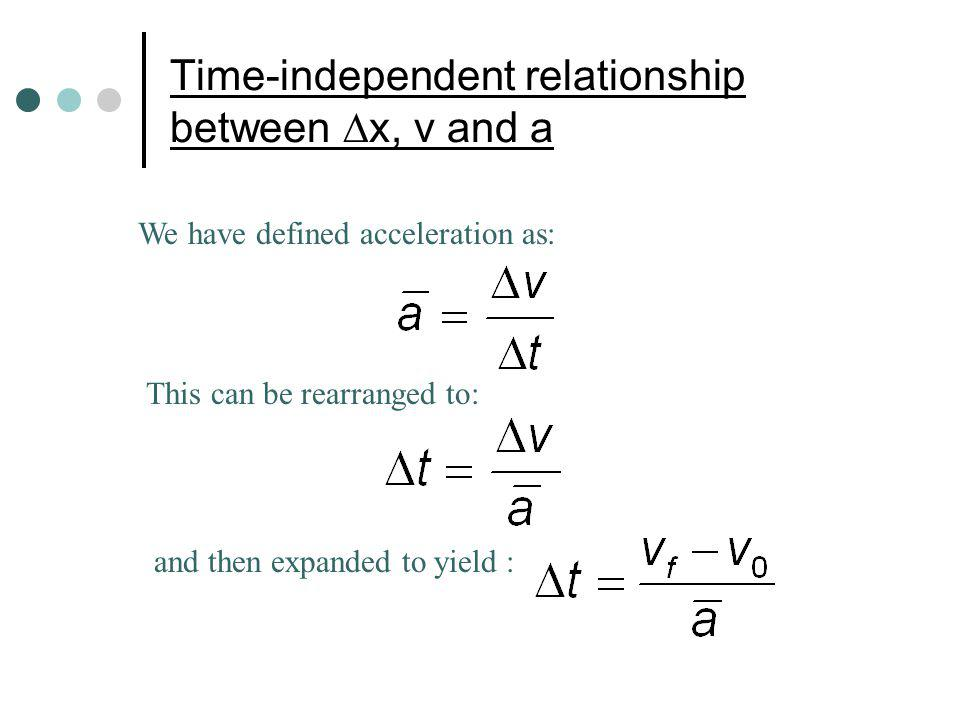 Time-independent relationship between x, v and a We have defined acceleration as: This can be rearranged to: and then expanded to yield :