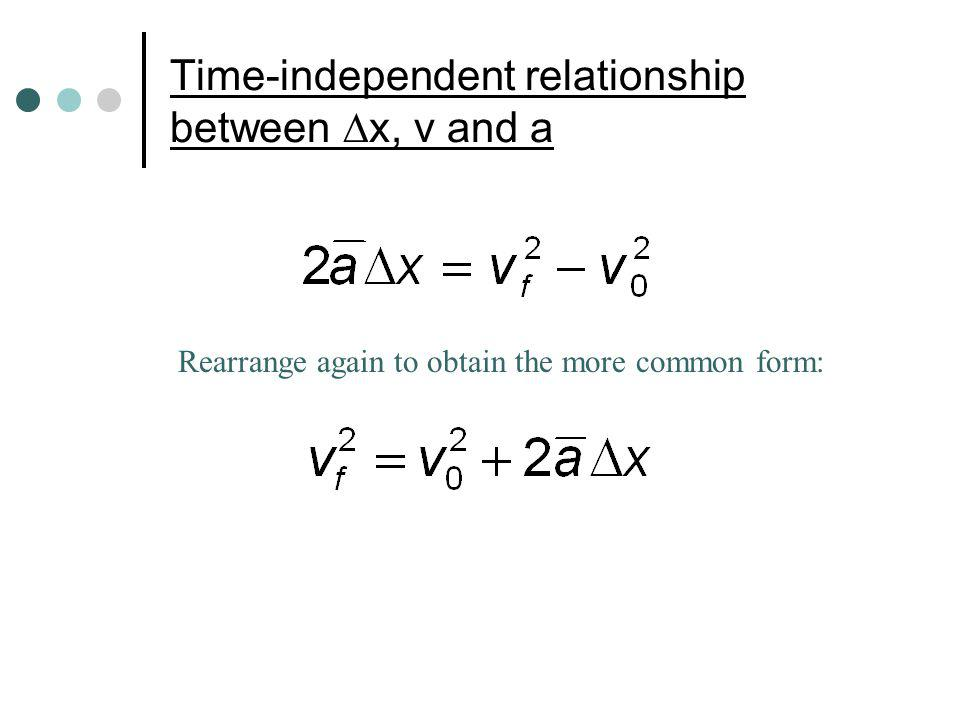 Time-independent relationship between x, v and a Rearrange again to obtain the more common form: