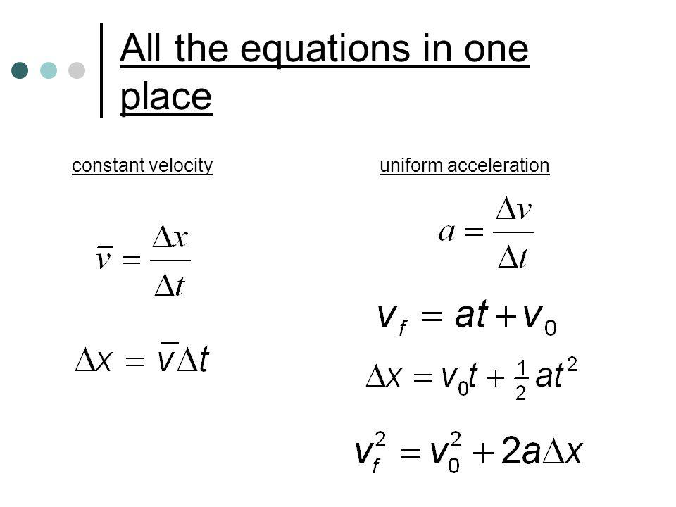 All the equations in one place constant velocity uniform acceleration