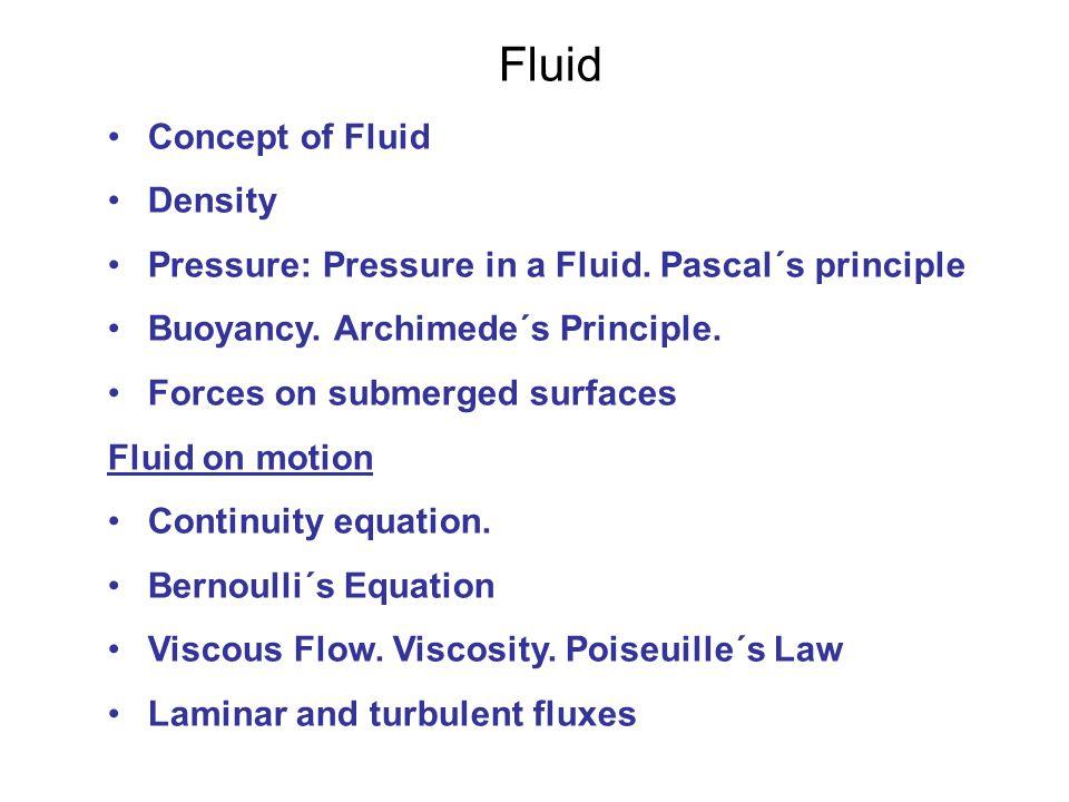 Fluid Concept of Fluid Density Pressure: Pressure in a Fluid.