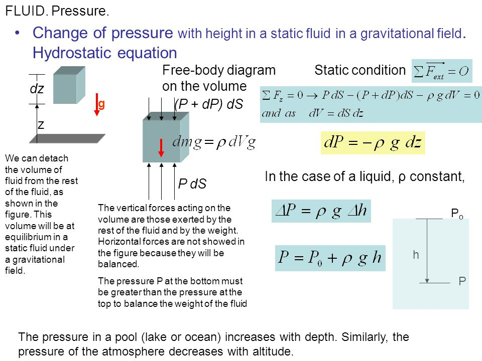 Change of pressure with height in a static fluid in a gravitational field. Hydrostatic equation FLUID. Pressure. The pressure in a pool (lake or ocean