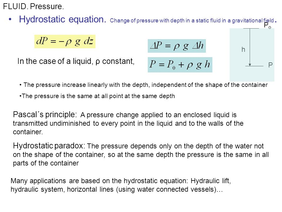Hydrostatic equation.Change of pressure with depth in a static fluid in a gravitational field.
