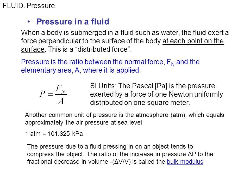 Pressure in a fluid FLUID.