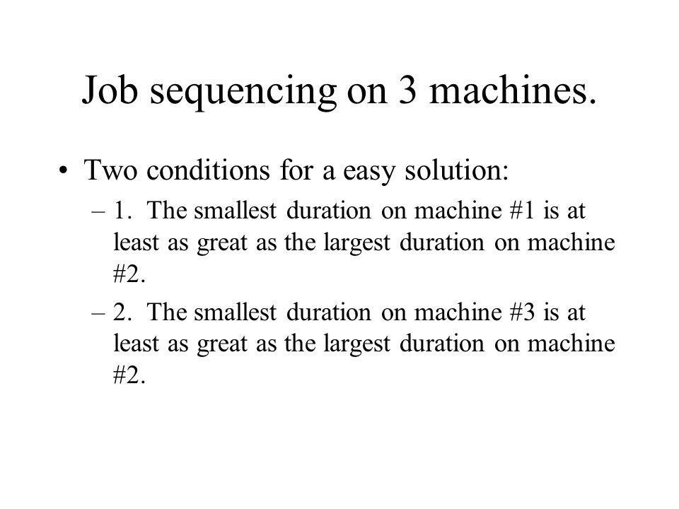 Job sequencing on 3 machines. Two conditions for a easy solution: –1. The smallest duration on machine #1 is at least as great as the largest duration