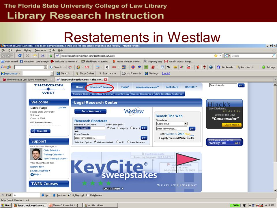 Restatements in Westlaw