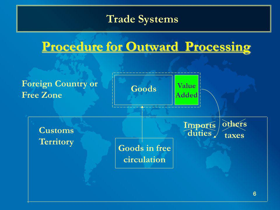 6 Trade Systems Procedure for Outward Processing Customs Territory Goods in free circulation Goods Value Added Imports duties Foreign Country or Free Zone others taxes