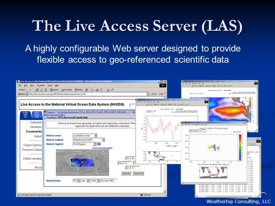 Weathertop Consulting, LLC A highly configurable Web server designed to provide flexible access to geo-referenced scientific data The Live Access Serv