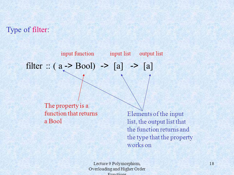 Lecture 9 Polymorphism, Overloading and Higher Order Functions 18 filter :: ( a -> Bool) -> [a] -> [a] The property is a function that returns a Bool