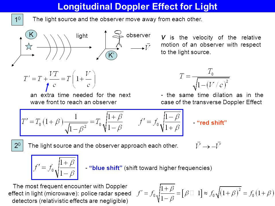 Longitudinal Doppler Effect for Light V is the velocity of the relative motion of an observer with respect to the light source. The most frequent enco