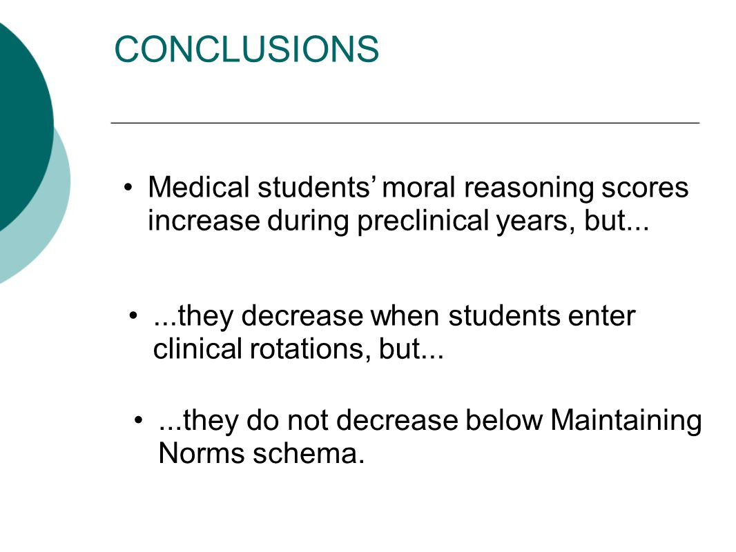 CONCLUSIONS...they decrease when students enter clinical rotations, but...