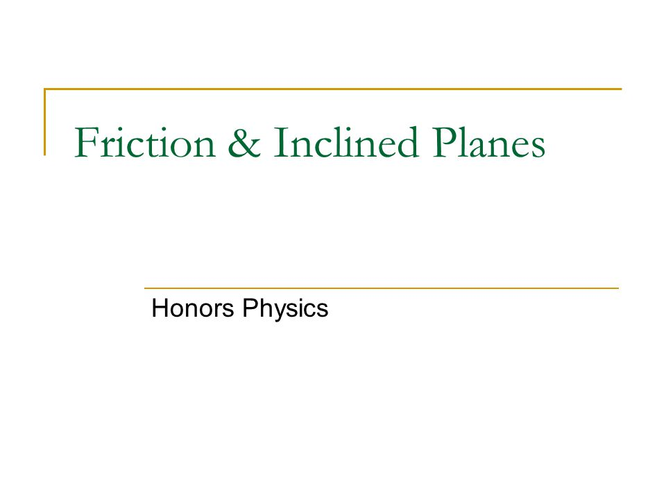 Friction & Inclined Planes Honors Physics
