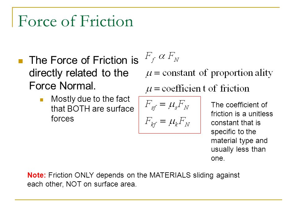 Force of Friction The Force of Friction is directly related to the Force Normal. Mostly due to the fact that BOTH are surface forces Note: Friction ON