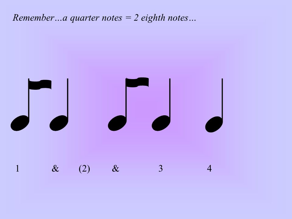 1 & (2) & 3 4 Remember…a quarter notes = 2 eighth notes…