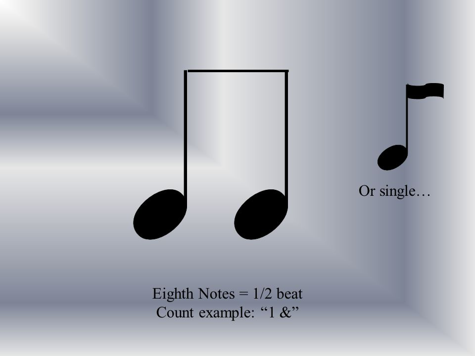 Eighth Notes = 1/2 beat Count example: 1 & Or single…