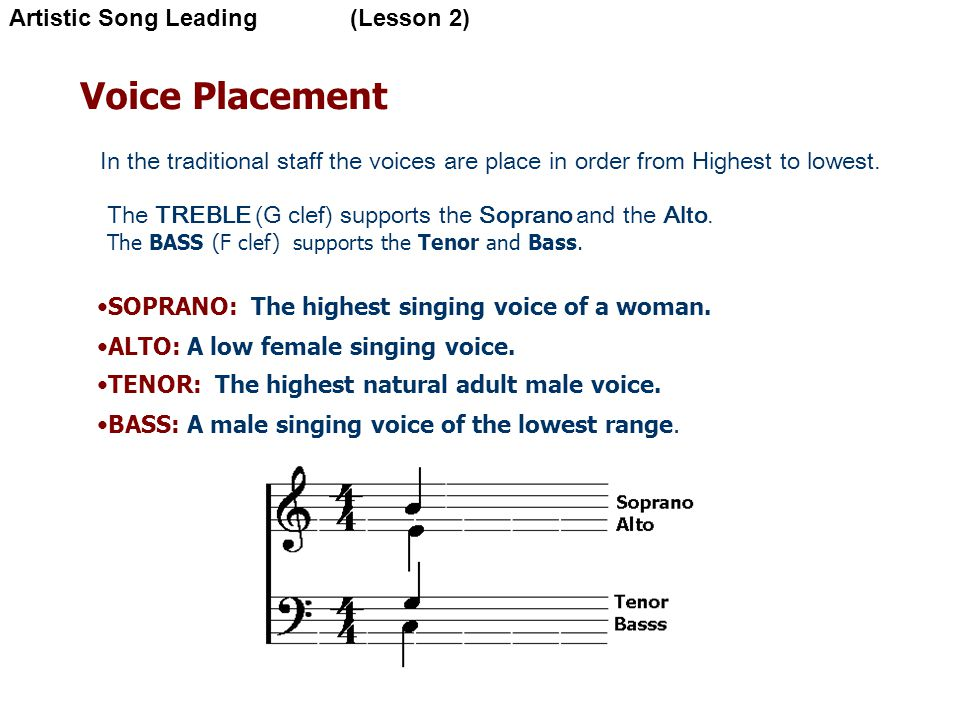 Voice Placement In the traditional staff the voices are place in order from Highest to lowest.