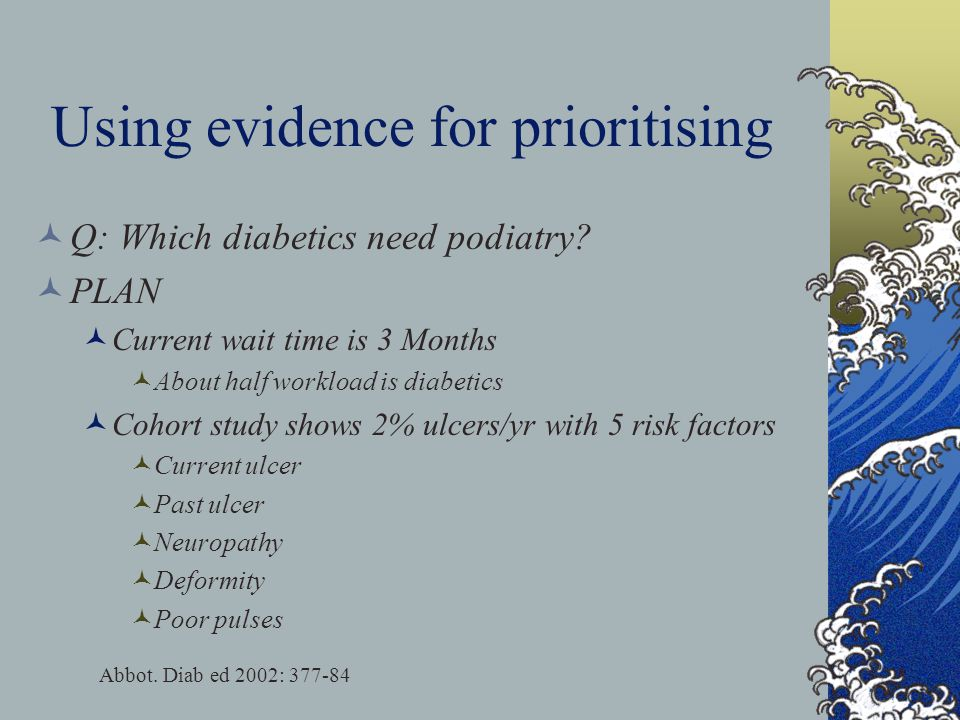 Using evidence for prioritising Q: Which diabetics need podiatry.