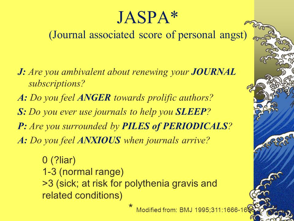 JASPA* (Journal associated score of personal angst) J: Are you ambivalent about renewing your JOURNAL subscriptions? A: Do you feel ANGER towards prol
