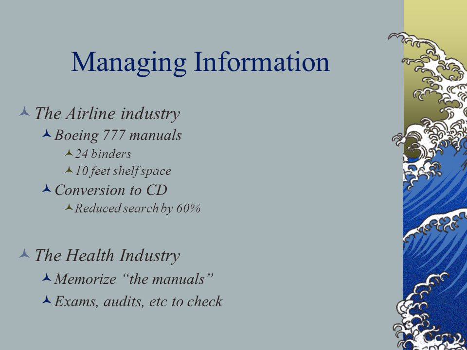 Managing Information The Airline industry Boeing 777 manuals 24 binders 10 feet shelf space Conversion to CD Reduced search by 60% The Health Industry