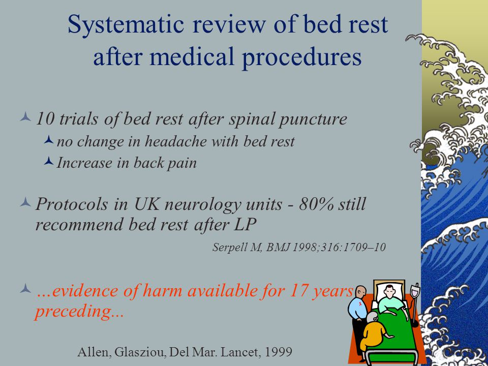 Systematic review of bed rest after medical procedures Allen, Glasziou, Del Mar. Lancet, 1999 10 trials of bed rest after spinal puncture no change in