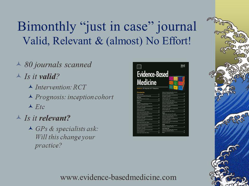 Bimonthly just in case journal Valid, Relevant & (almost) No Effort.