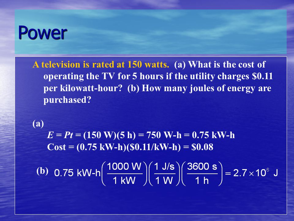 Power Clock radio = 10 WHair dryer = 1200 – 1875 W Coffee maker = 900 – 1200 WMicrowave oven = 750 – 1100 W Clothes washer = 350 – 500 WLaptop = 50 – 100 W Clothes dryer = 1800 – 5000 W Dishwasher = 1200 – 2400 W (using the drying feature greatly increases energy consumption) Fans Heater (portable) = 750 – 1500 Ceiling = 65–175 WClothes iron = 1000 - 1800 W Window = 55–250 WToaster = 800 – 1400 W Furnace = 750 WVCR/DVD = 17–21 / 20–25 W Whole house = 240 – 750 Refrigerator (frost-free, 16 cubic feet) = 725 W Televisions (color) Water heater = 4500 – 5500 W 19 = 65 – 110 W 27 = 113 W 36 = 133 W 53 - 61 Projection = 170 W Flat screen = 120 W