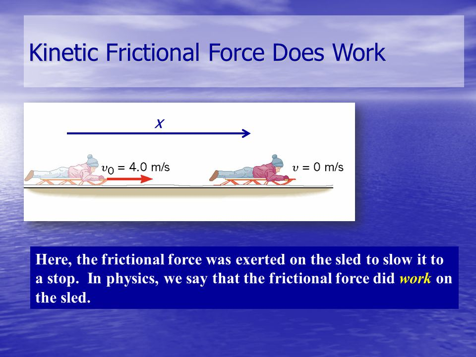 Kinetic Frictional Force Does Work x Here, the frictional force was exerted on the sled to slow it to a stop. In physics, we say that the frictional f