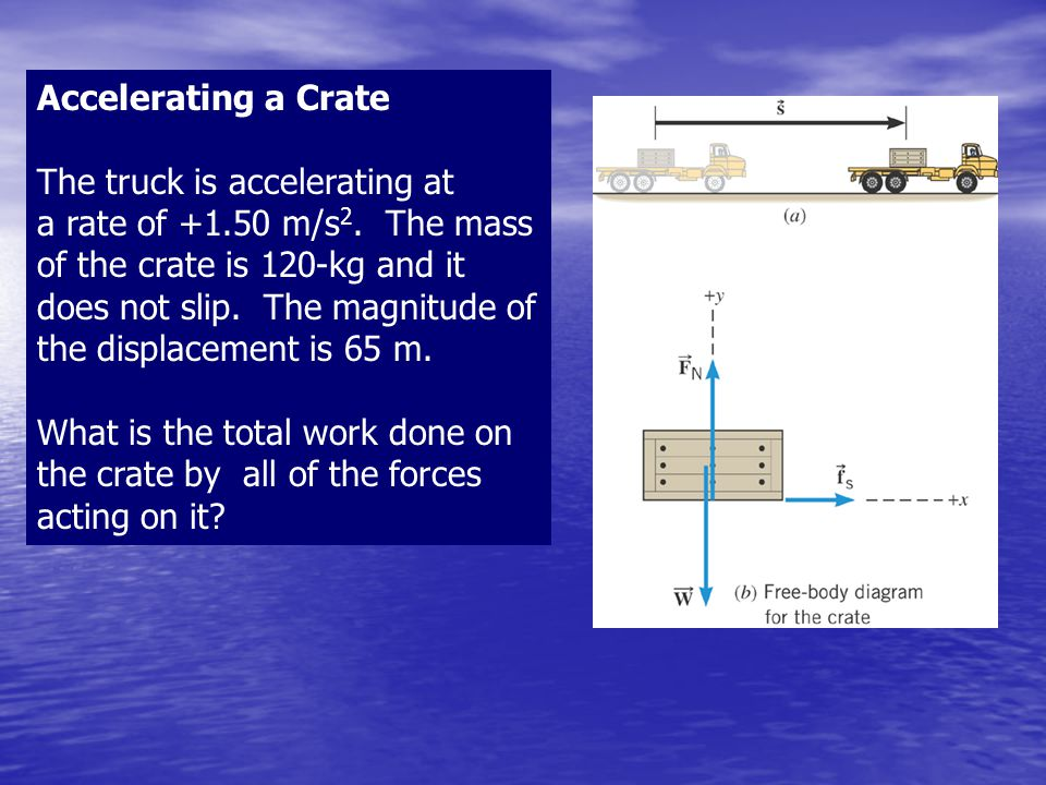 Accelerating a Crate The truck is accelerating at a rate of +1.50 m/s 2. The mass of the crate is 120-kg and it does not slip. The magnitude of the di