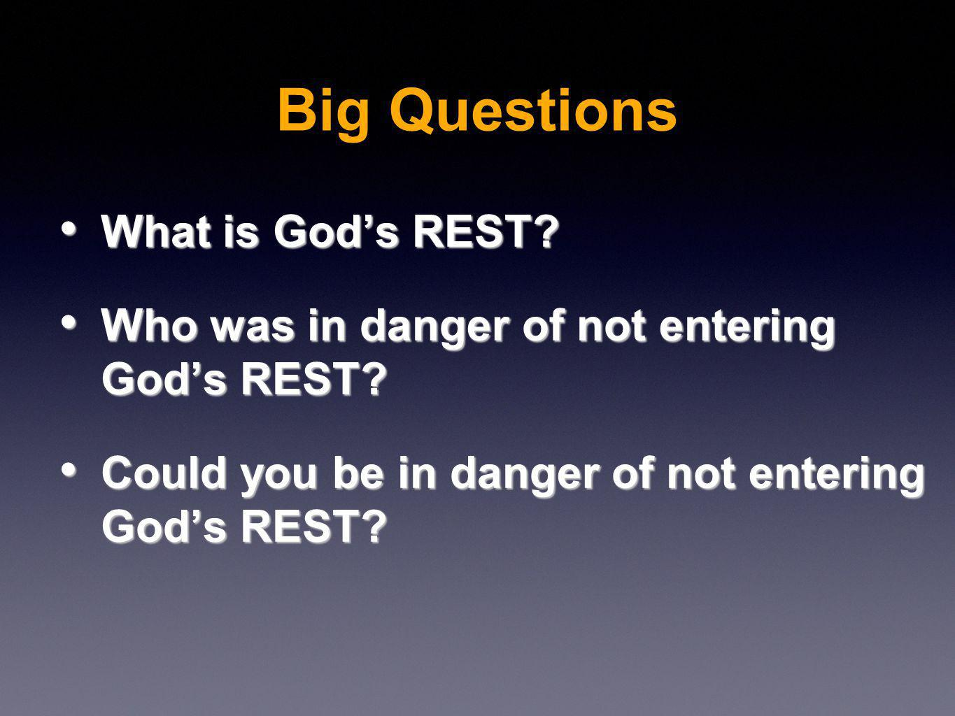 What is Gods REST. What is Gods REST. Who was in danger of not entering Gods REST.