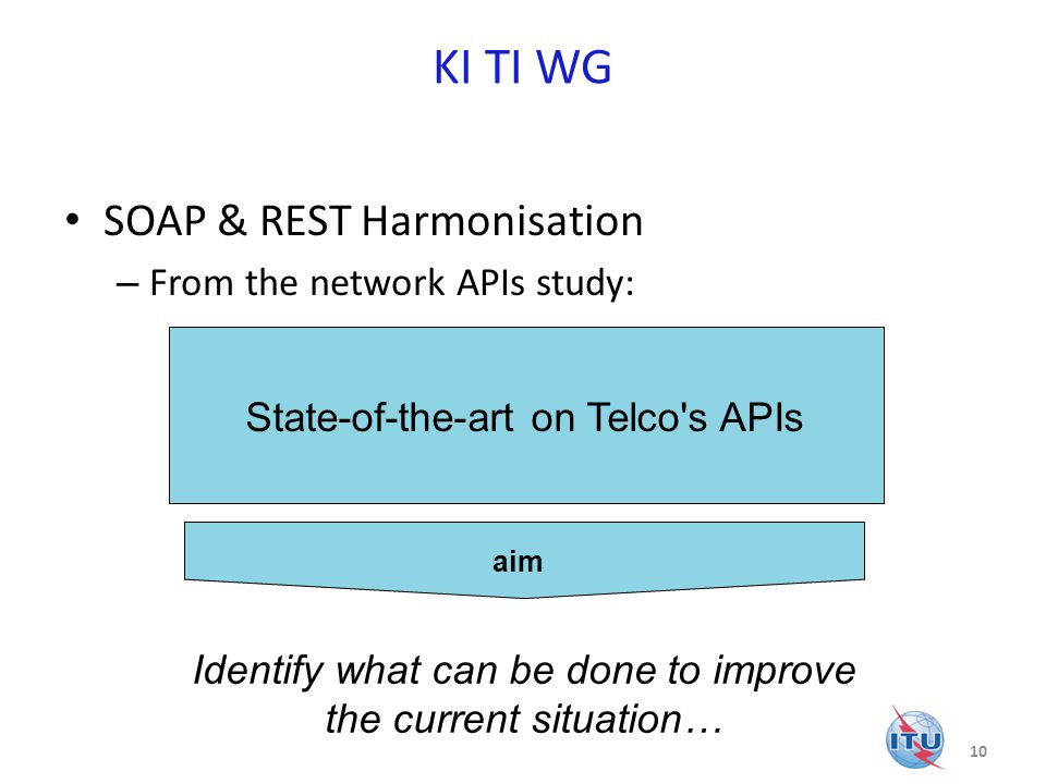 KI TI WG SOAP & REST Harmonisation – From the network APIs study: 10 State-of-the-art on Telco s APIs Identify what can be done to improve the current situation… aim