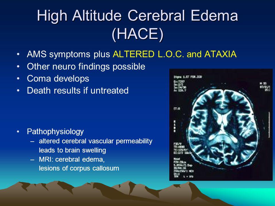 High Altitude Cerebral Edema (HACE) AMS symptoms plus ALTERED L.O.C.