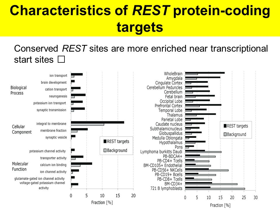 Characteristics of REST protein-coding targets Conserved REST sites are more enriched near transcriptional start sites