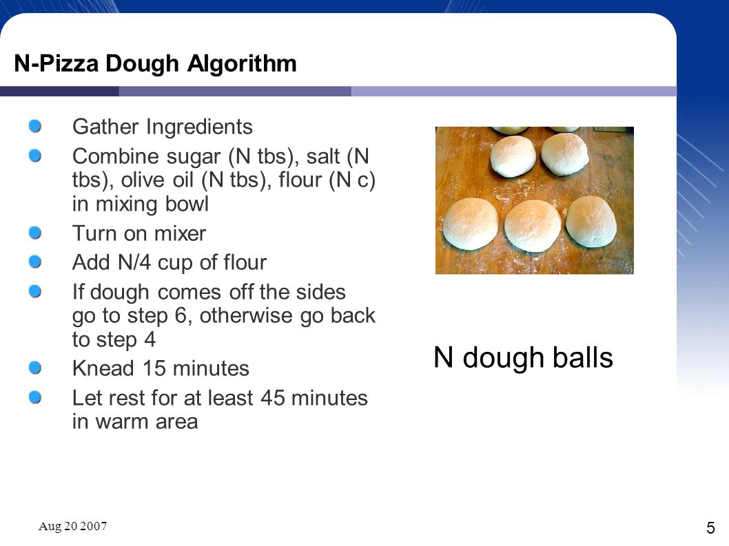 Aug 20 2007 5 N-Pizza Dough Algorithm Gather Ingredients Combine sugar (N tbs), salt (N tbs), olive oil (N tbs), flour (N c) in mixing bowl Turn on mi