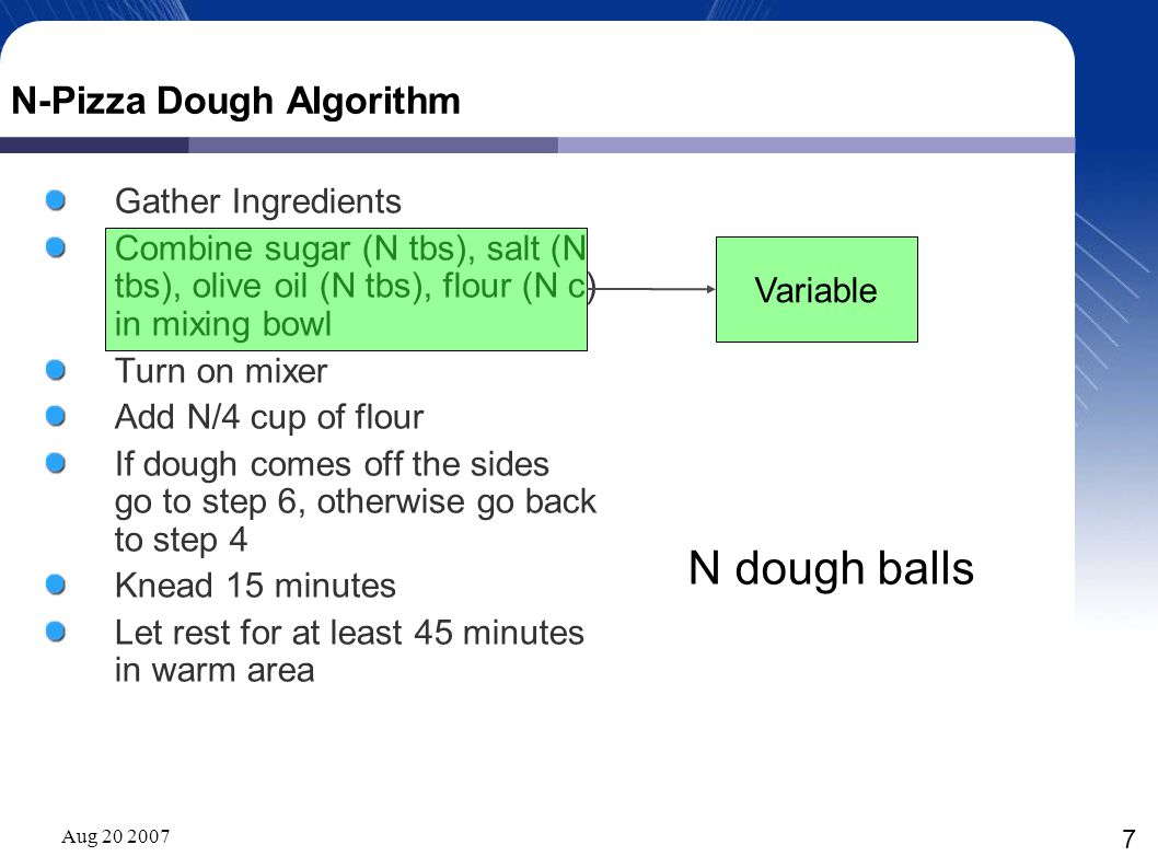 Aug 20 2007 7 N-Pizza Dough Algorithm Gather Ingredients Combine sugar (N tbs), salt (N tbs), olive oil (N tbs), flour (N c) in mixing bowl Turn on mi