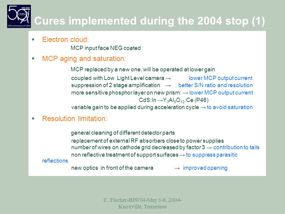 C. Fischer-BIW04-May 3-6, 2004- Knoxville, Tennessee Cures implemented during the 2004 stop (1) §Electron cloud: MCP input face NEG coated §MCP aging