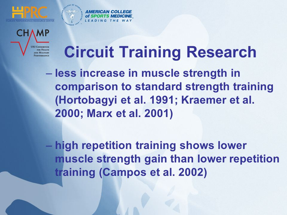 Circuit Training Research –less increase in muscle strength in comparison to standard strength training (Hortobagyi et al. 1991; Kraemer et al. 2000;