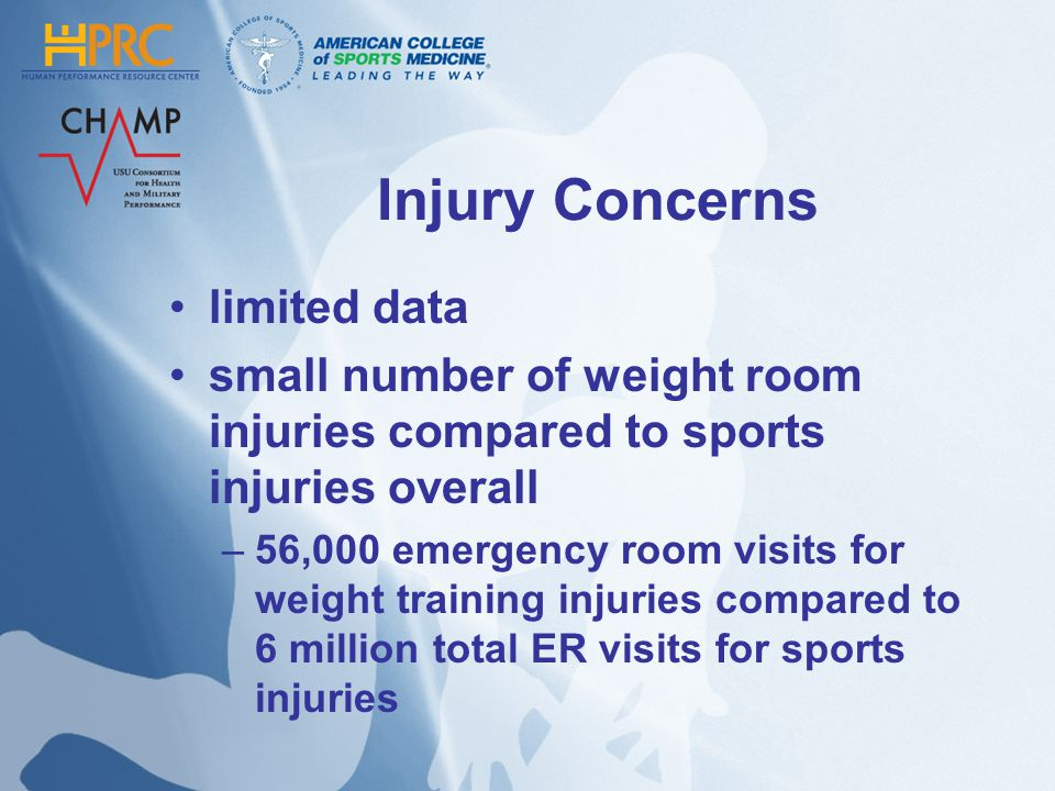Injury Concerns limited data small number of weight room injuries compared to sports injuries overall –56,000 emergency room visits for weight training injuries compared to 6 million total ER visits for sports injuries