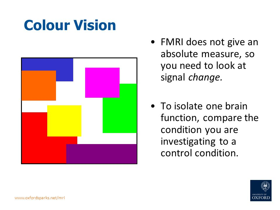 Colour Vision FMRI does not give an absolute measure, so you need to look at signal change. To isolate one brain function, compare the condition you a