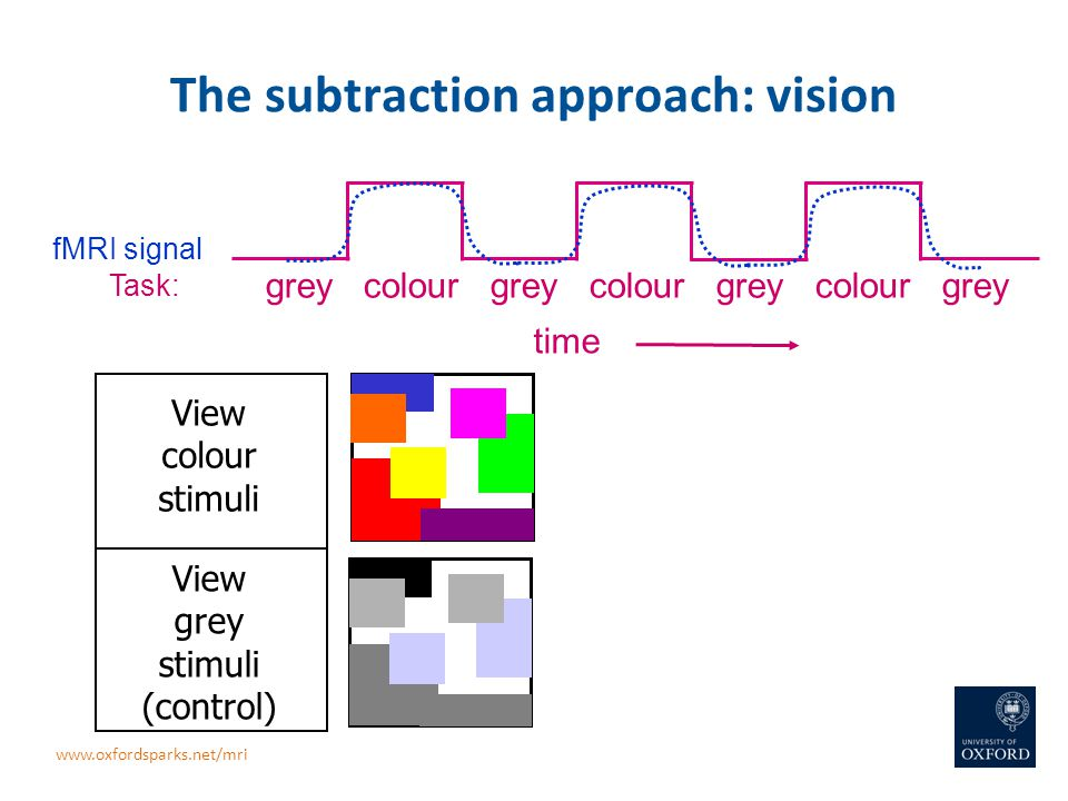 The subtraction approach: vision View grey stimuli (control) View colour stimuli grey colour grey colour grey colour grey Task: fMRI signal time www.o