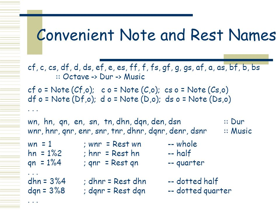 Convenient Note and Rest Names cf, c, cs, df, d, ds, ef, e, es, ff, f, fs, gf, g, gs, af, a, as, bf, b, bs :: Octave -> Dur -> Music cf o = Note (Cf,o); c o = Note (C,o); cs o = Note (Cs,o) df o = Note (Df,o); d o = Note (D,o); ds o = Note (Ds,o)...