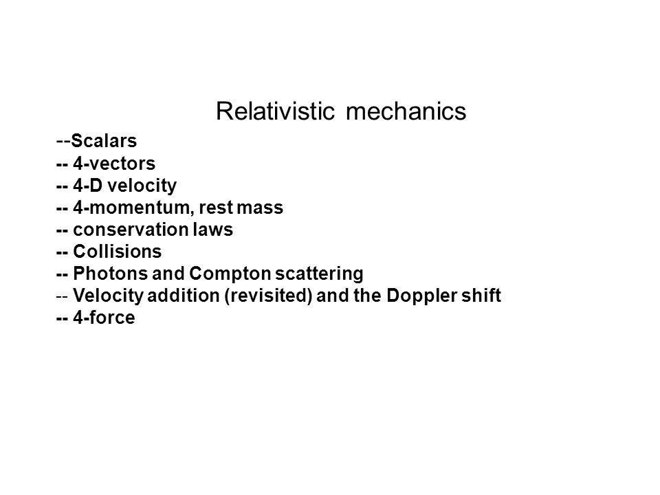 Relativistic mechanics -- Scalars -- 4-vectors -- 4-D velocity -- 4-momentum, rest mass -- conservation laws -- Collisions -- Photons and Compton scat
