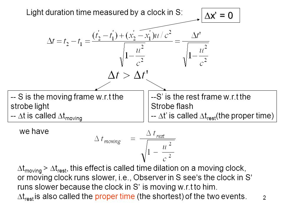 2 Light duration time measured by a clock in S: x = 0 x = 0 we have --S is the rest frame w.r.t the Strobe flash -- t is called t rest (the proper tim