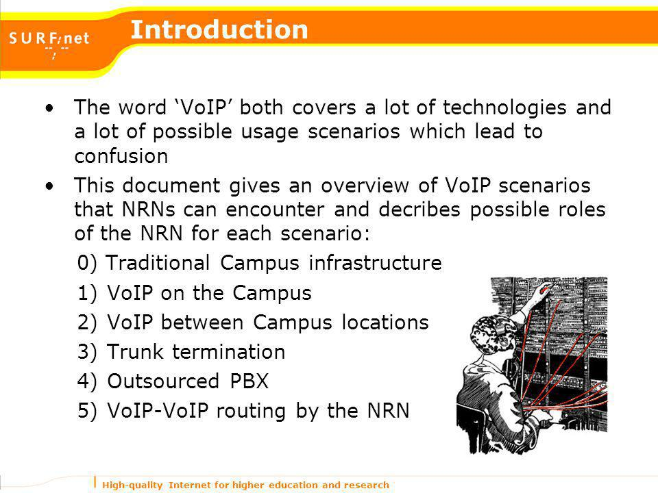 High-quality Internet for higher education and research Introduction The word VoIP both covers a lot of technologies and a lot of possible usage scena