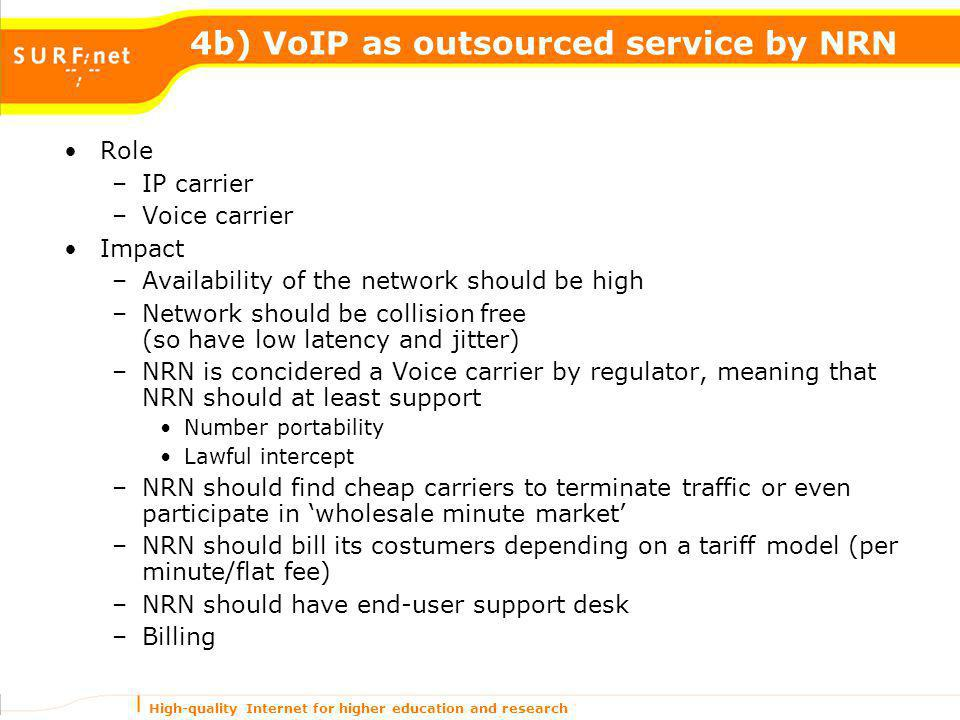 High-quality Internet for higher education and research 4b) VoIP as outsourced service by NRN Role –IP carrier –Voice carrier Impact –Availability of