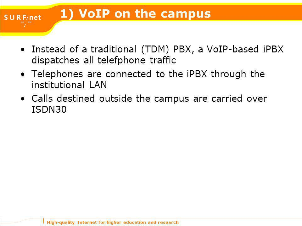 High-quality Internet for higher education and research 1) VoIP on the campus Instead of a traditional (TDM) PBX, a VoIP-based iPBX dispatches all tel