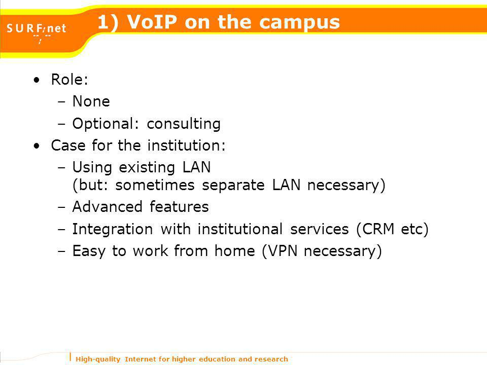 High-quality Internet for higher education and research 1) VoIP on the campus Role: –None –Optional: consulting Case for the institution: –Using exist