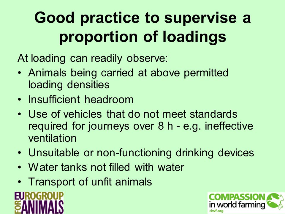 Good practice to supervise a proportion of loadings At loading can readily observe: Animals being carried at above permitted loading densities Insufficient headroom Use of vehicles that do not meet standards required for journeys over 8 h - e.g.