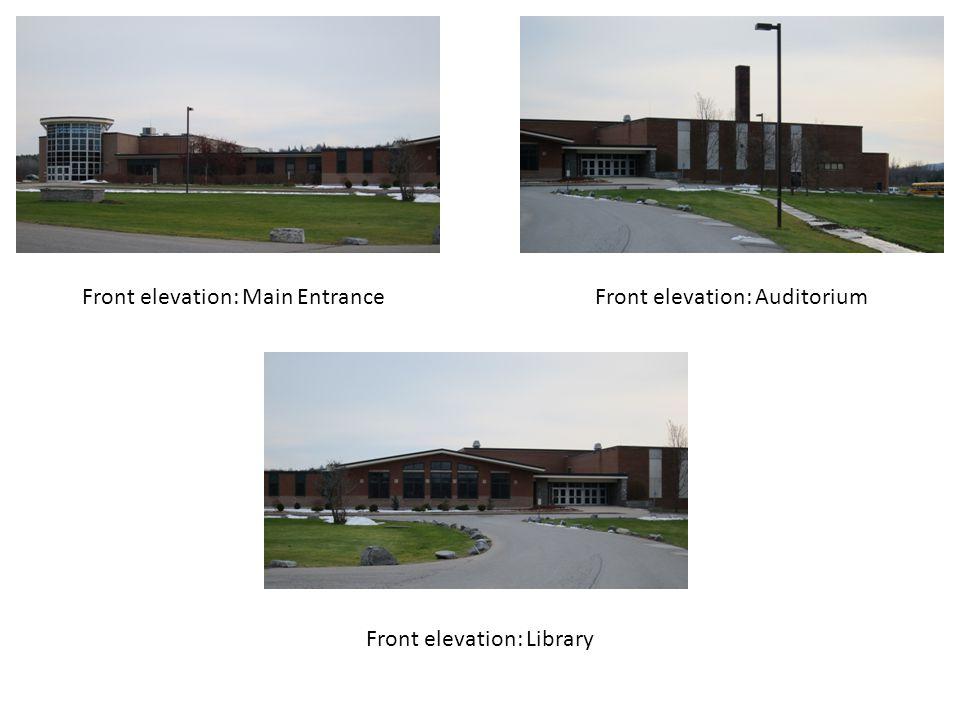 Front elevation: Main EntranceFront elevation: Auditorium Front elevation: Library