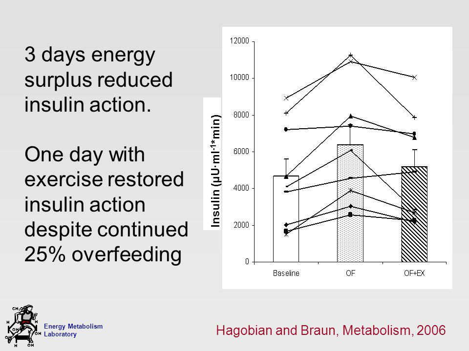 Energy Metabolism Laboratory H H OH CH 2 OH H OH H 3 days energy surplus reduced insulin action. One day with exercise restored insulin action despite
