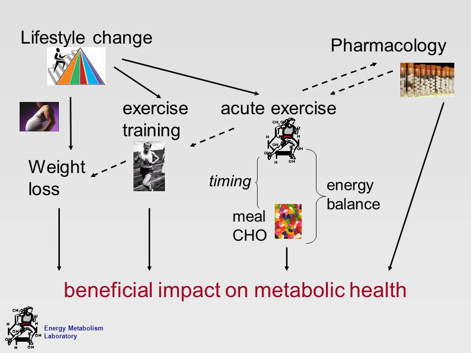 Energy Metabolism Laboratory H H OH CH 2 OH H OH H Weight loss beneficial impact on metabolic health Lifestyle change Pharmacology exercise training acute exercise energy balance meal CHO timing